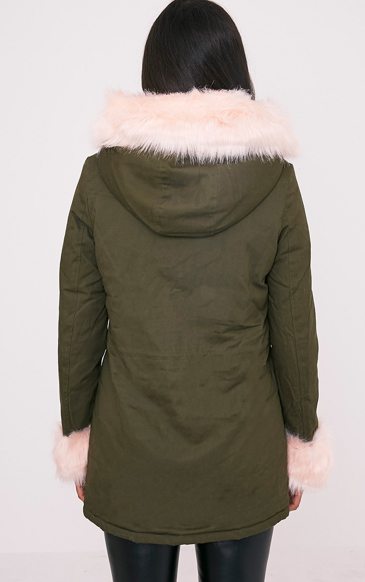 Neena Baby Pink Faux Fur Lined Parka 2