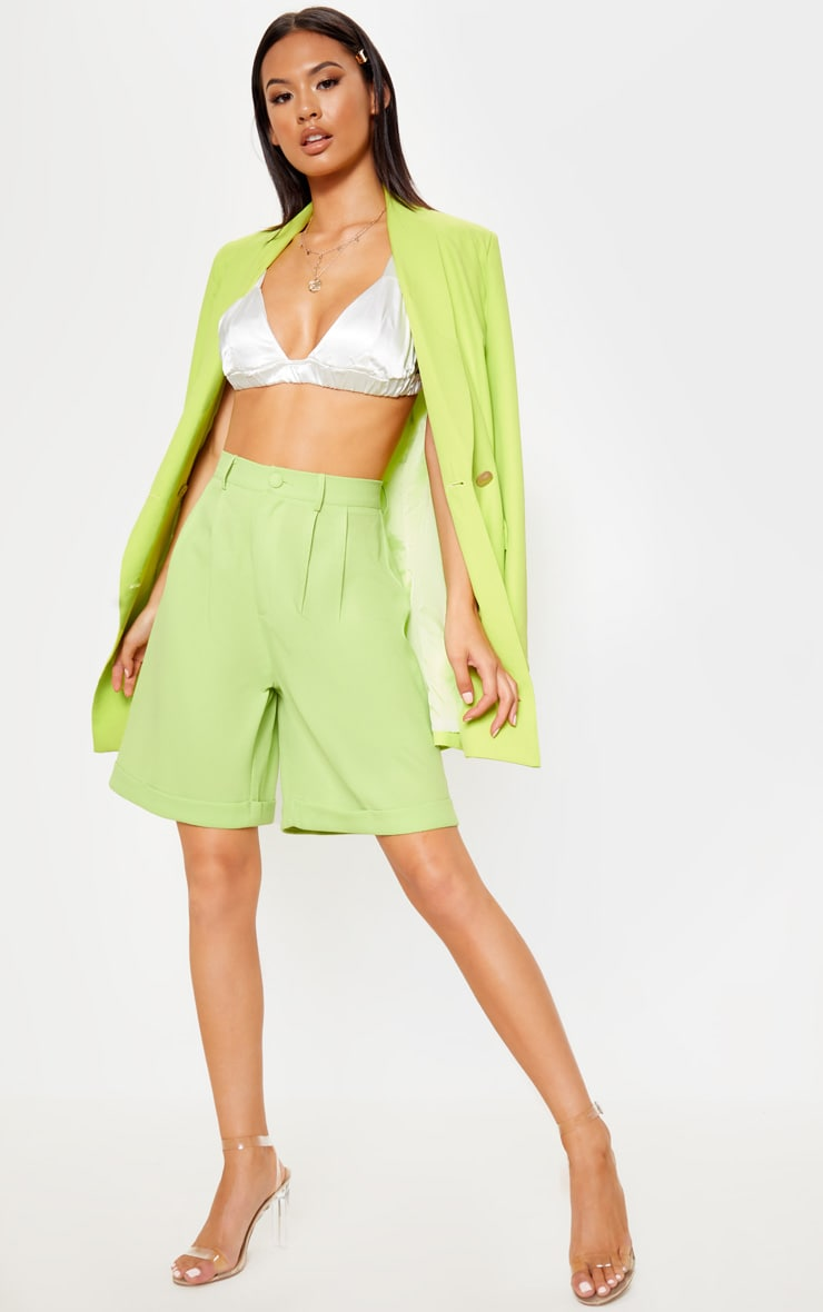 Lime Turn Up Hem Longline Short 1