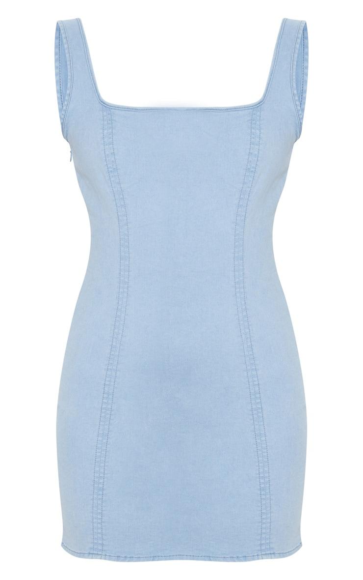 Light Wash Square Neck Denim Mini Dress 3
