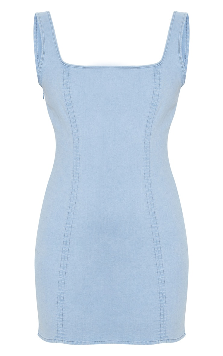 Mid Wash Square Neck Denim Mini Dress 3