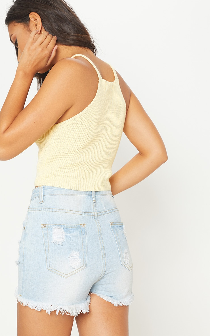 Yellow Racer Neck Knitted Vest Top  2