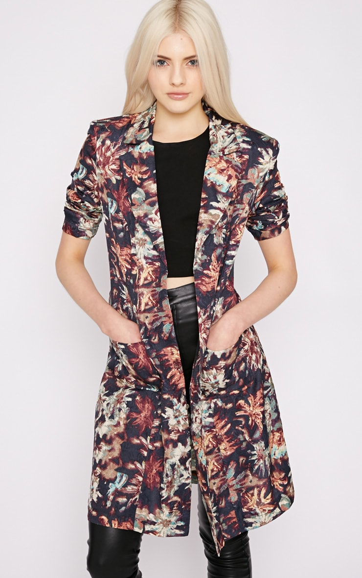 Patti Navy Floral Print Duster Jacket  3