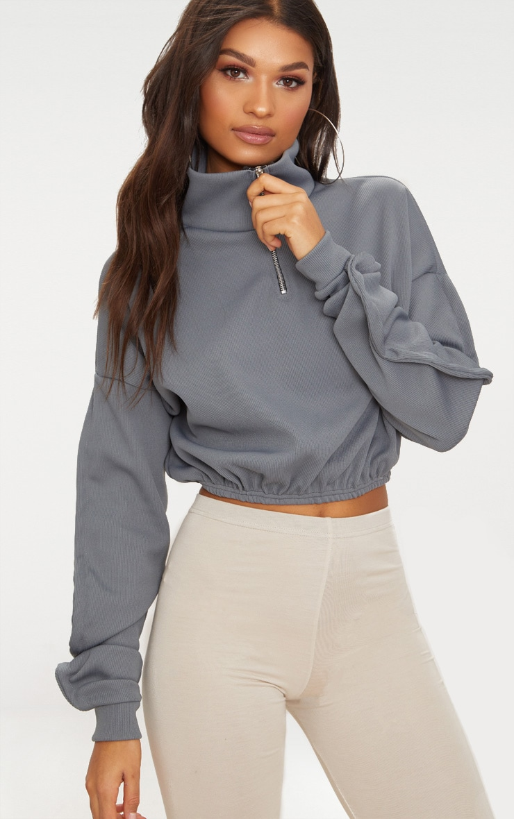 Grey Rib Zip Front Long Sleeve Sweater  1