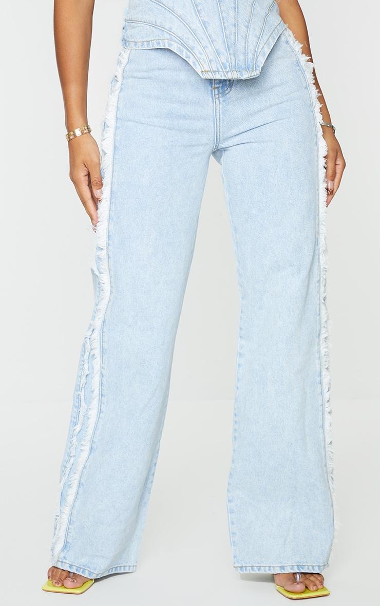 Shape Vintage Wash Fray Side Detail Wide Leg Jeans 2