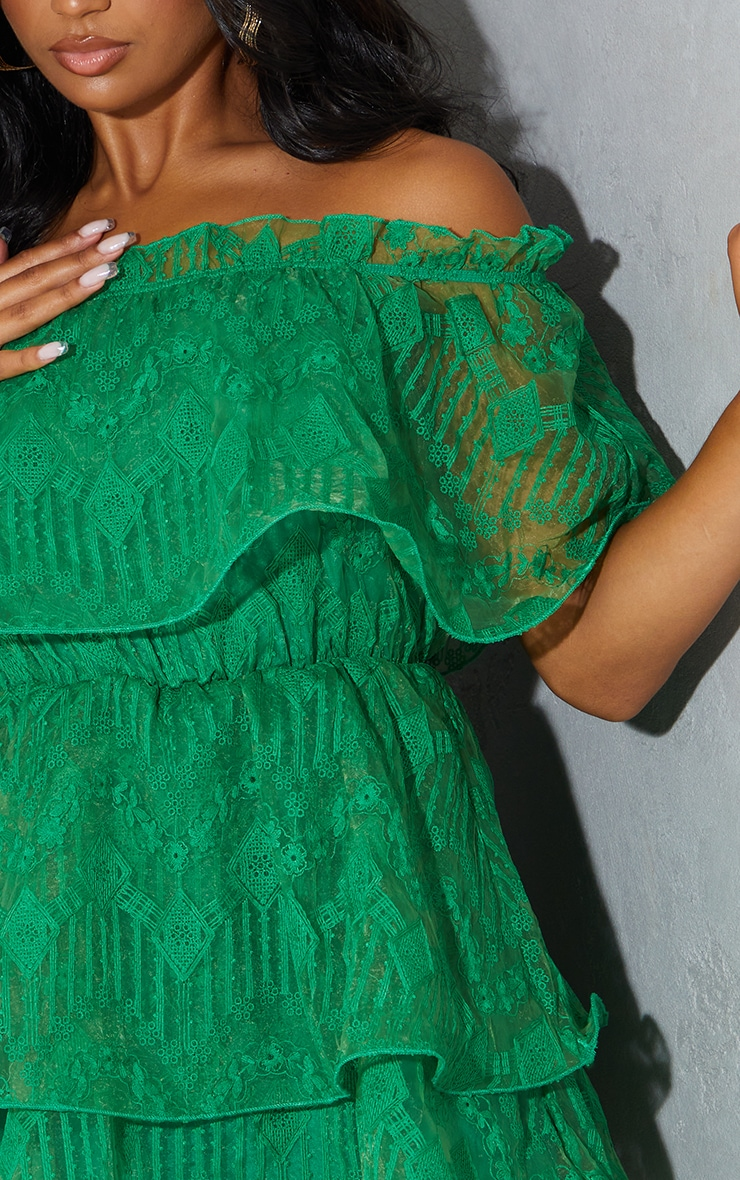 Bright Green Lace Bardot Ruffle Tiered Dress 4