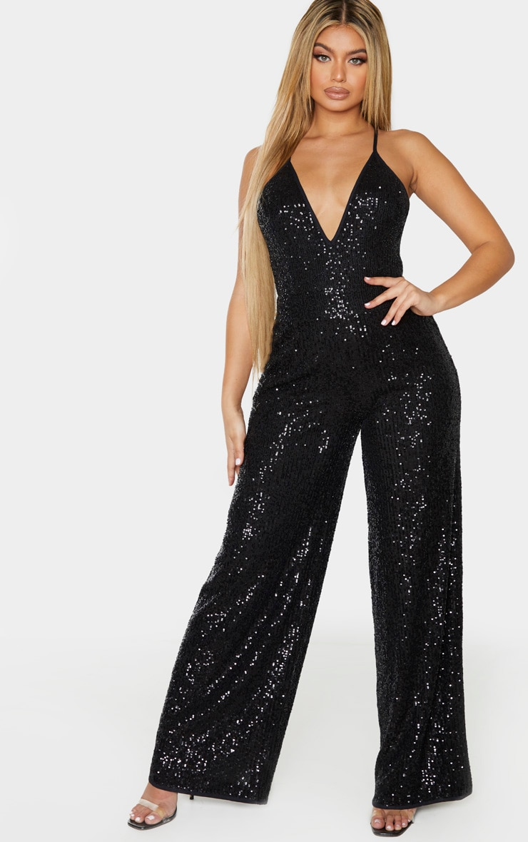 Black Strappy Sequin Plunge Jumpsuit 1