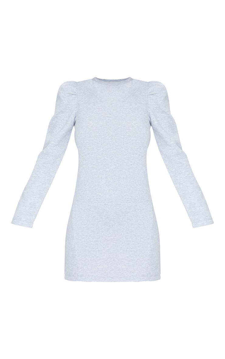 Grey Sweat Puff Sleeve Split Hem Jumper Dress 5