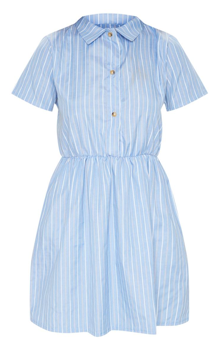 Pastel Blue Stripe Button Detail Skater Dress 3