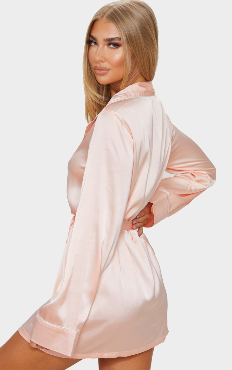 Baby Pink Satin Piped Robe 2