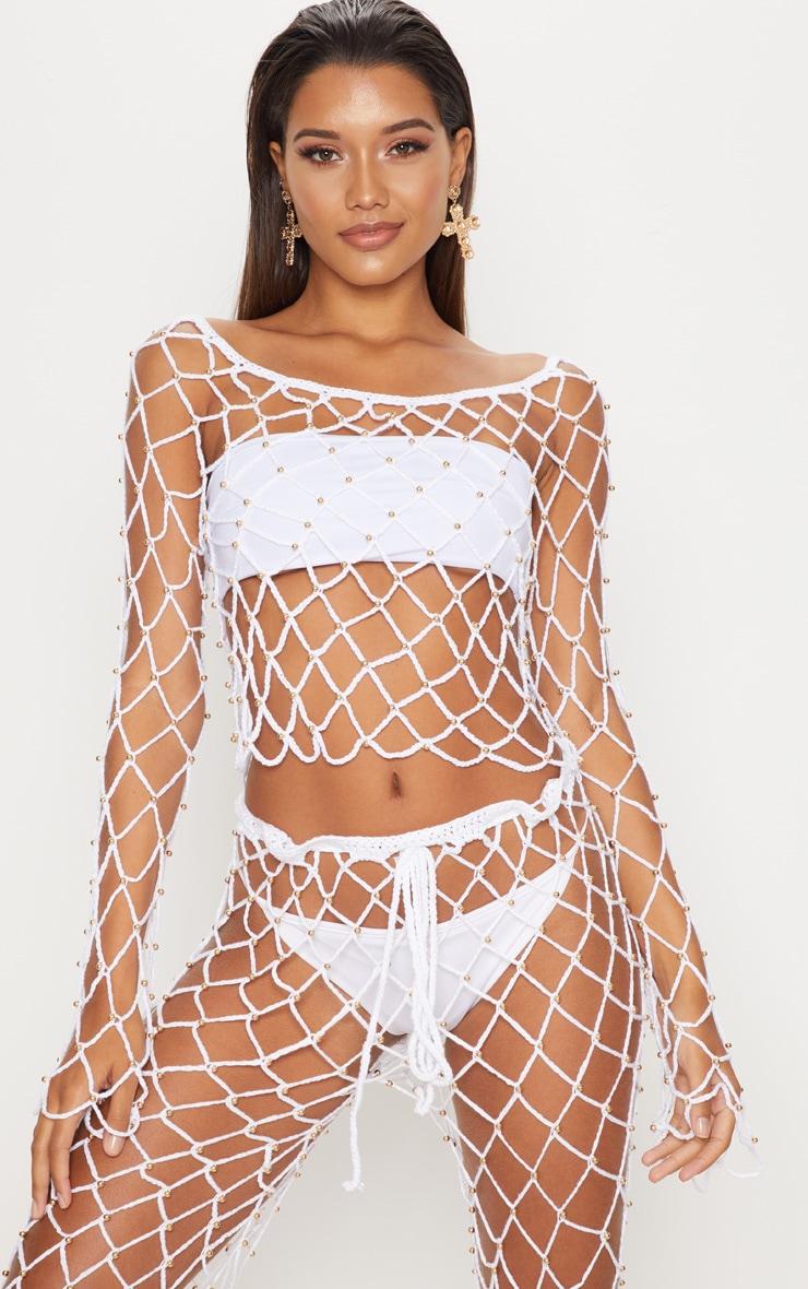 White Crochet Beaded Long Sleeve Top 1