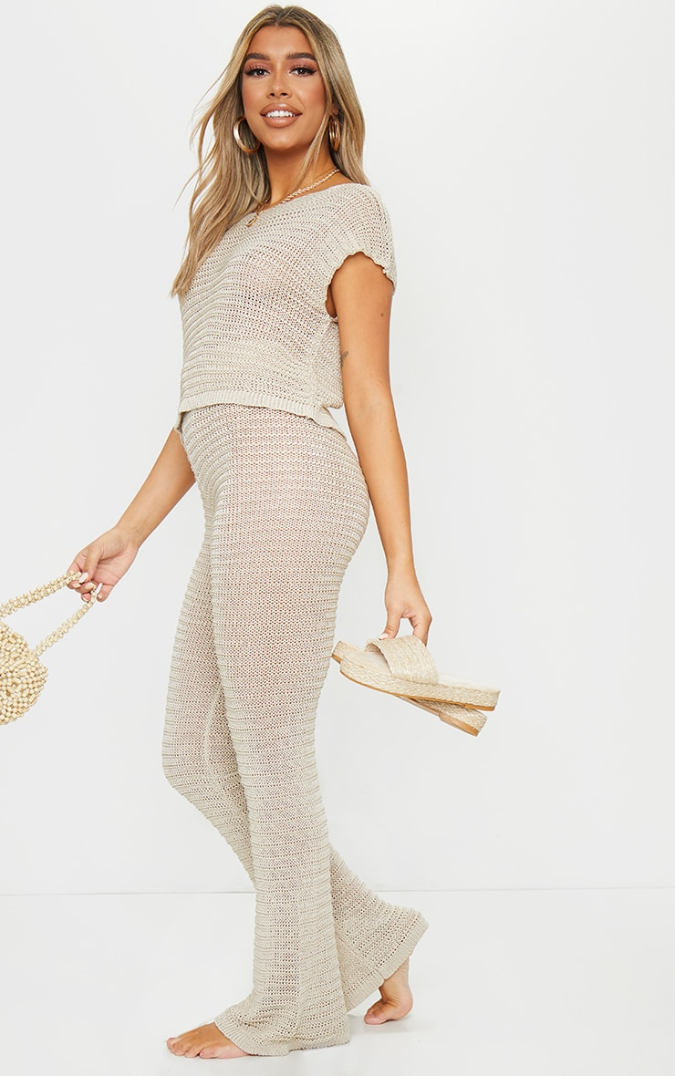 Stone Knitted Tape Yarn Flare Trousers 1