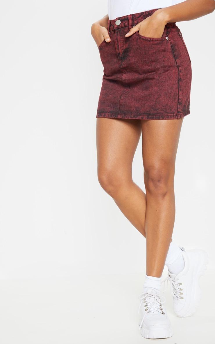 Burgundy Acid Wash Denim Skirt 2