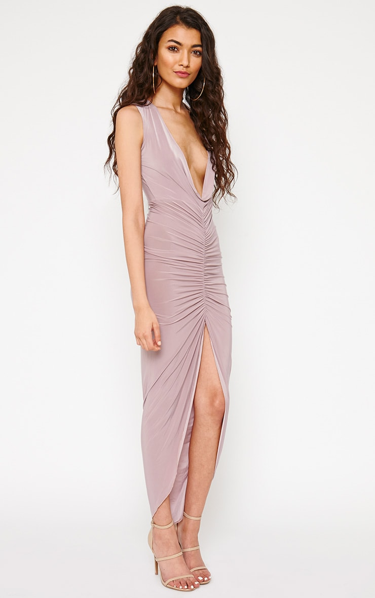 Meghan Mauve Slinky Ruched Maxi Dress 4