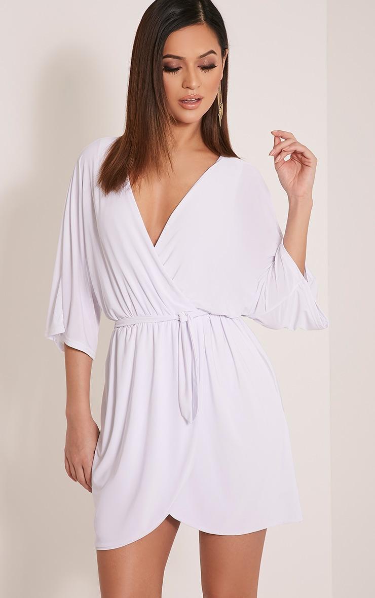 Martie White Wrap Front Kimono Sleeve Mini Dress 1