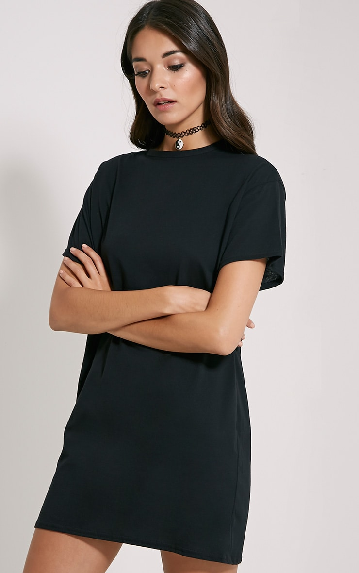 Basic Black Oversized T-Shirt Dress 4