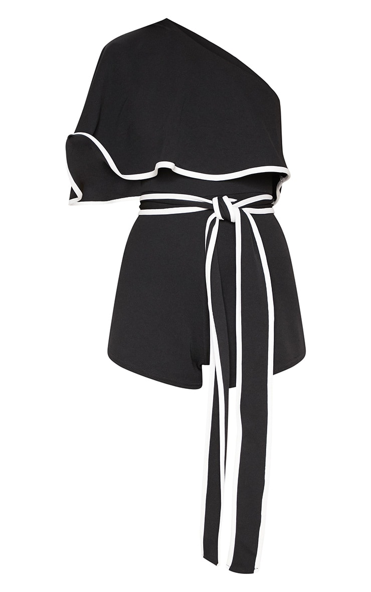 Monochrome Contrast One Shoulder Playsuit 3