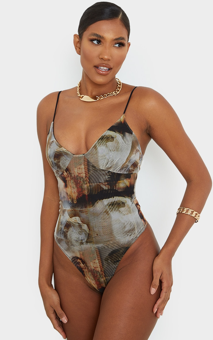 Nude Mesh Abstract Renaissance Print Cup Detail Bodysuit 3