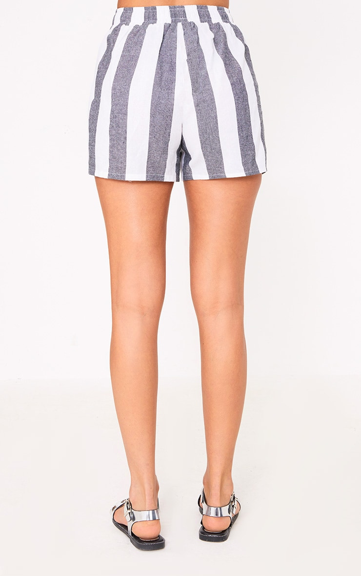 Grey Bold Stripe Beach Shorts 4