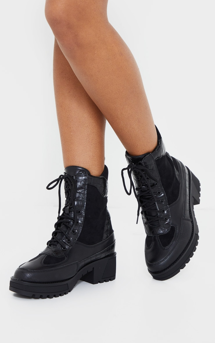 Black PU Lace Up Hiker Boots 2