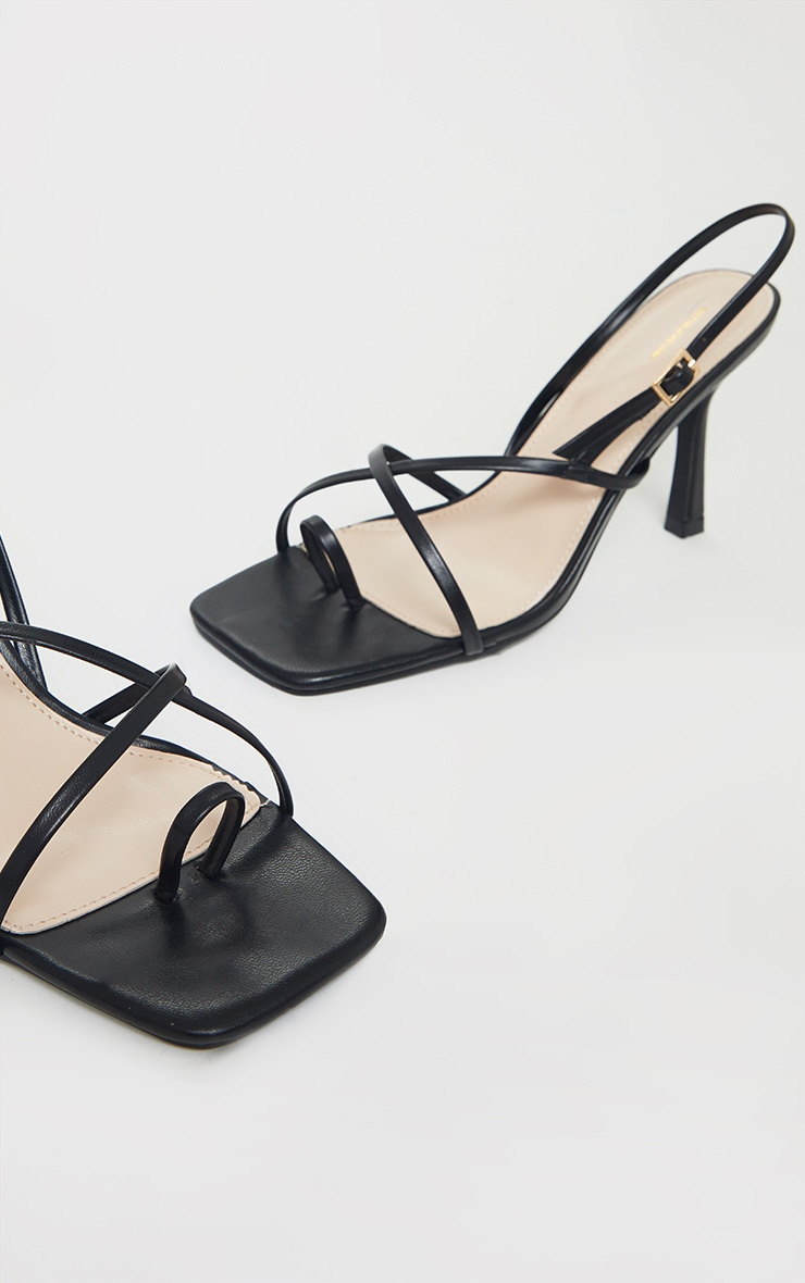 Black Square Toe Strappy Mid Heeled Sandals 3