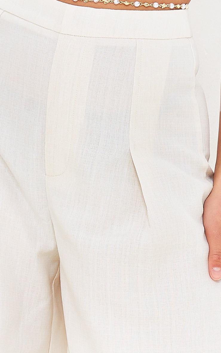 Petite Cream Wide Leg Pleat Detail Pants 4