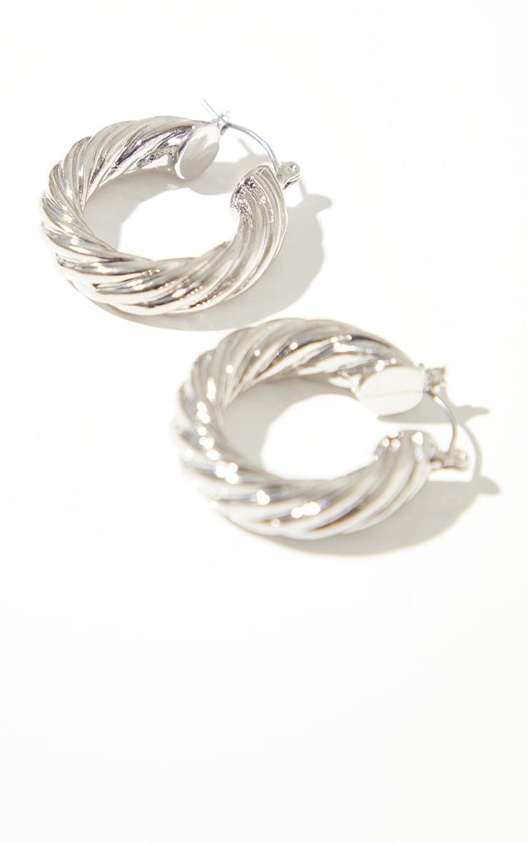 Silver Chunky Ribbed Twist Hoop Earrings 3