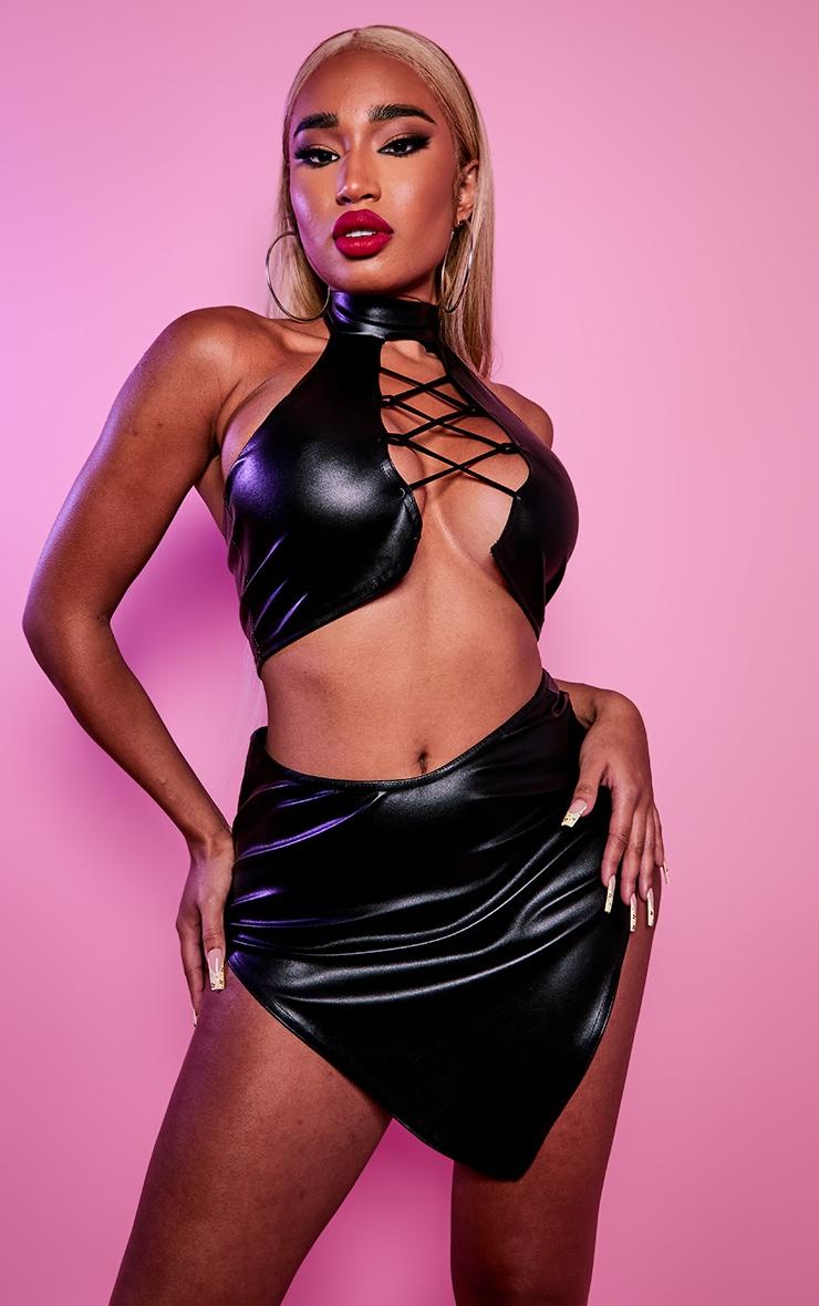 Shape Black PU Curved Hem Bodycon Skirt 4