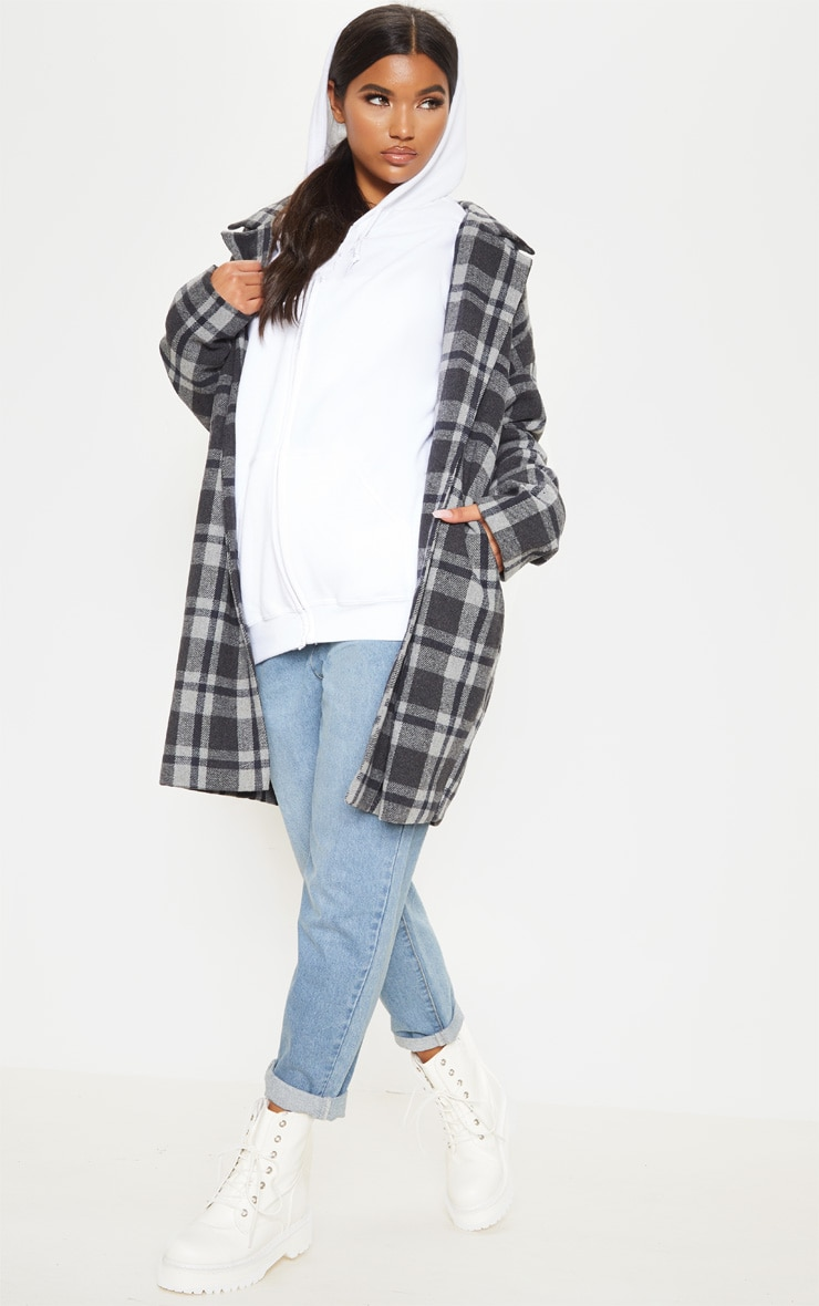 Charcoal Checked Oversized Coat 4