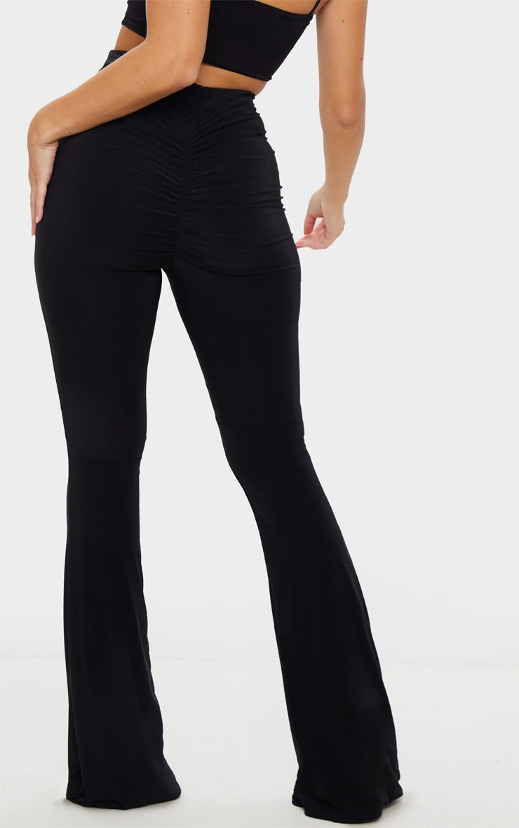 Black Flare Ruched Bum Slinky Trouser 4