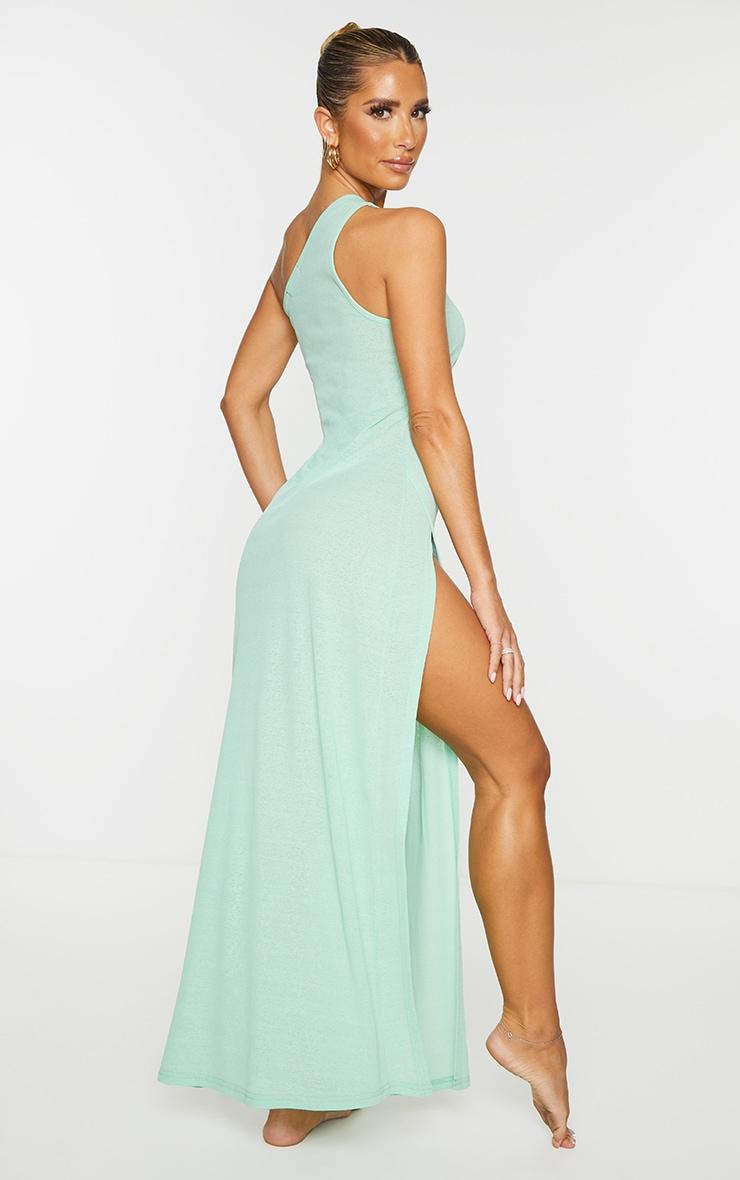 Green One Shoulder Split Maxi Beach Dress 2