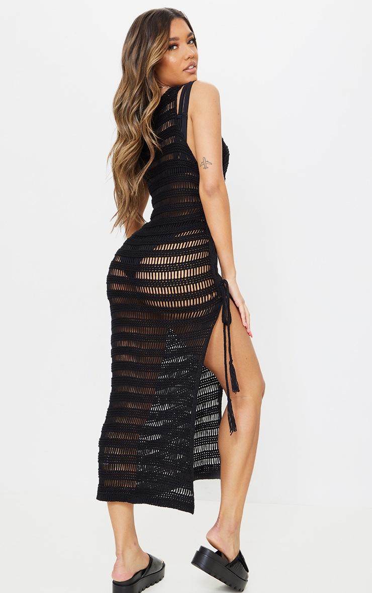 Black Open Stitch Lace Up Side Knitted Midi Dress 2