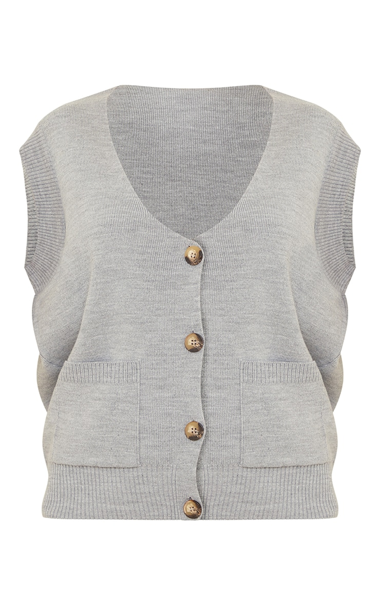 Grey Knitted Pocket Detail Button Down Vest 5