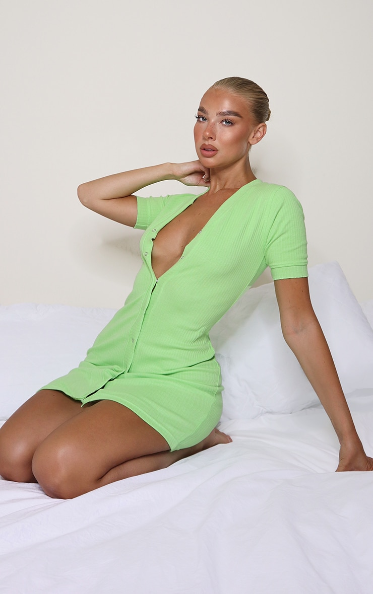 Lime Thick Rib Popper Frill Edge Bodycon Dress 1