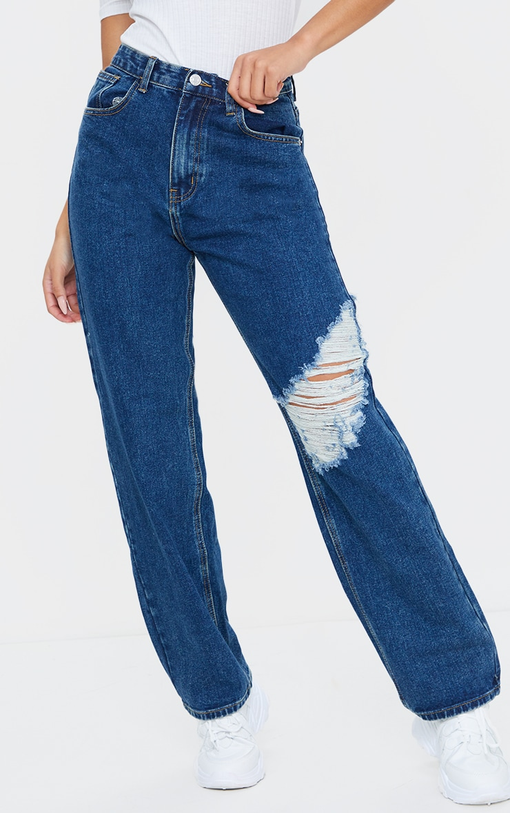 Dark Vintage Blue Wash Distressed Baggy Jeans 2