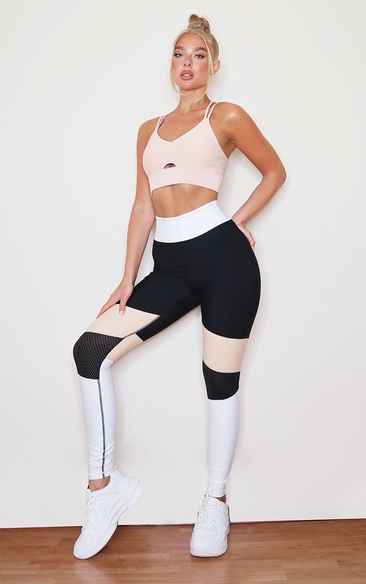 Black Premium Contrast Panelling Airtex Gym Legging 1