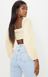 Tall Stone Corset Detail Long Sleeve Cropped Blouse 2