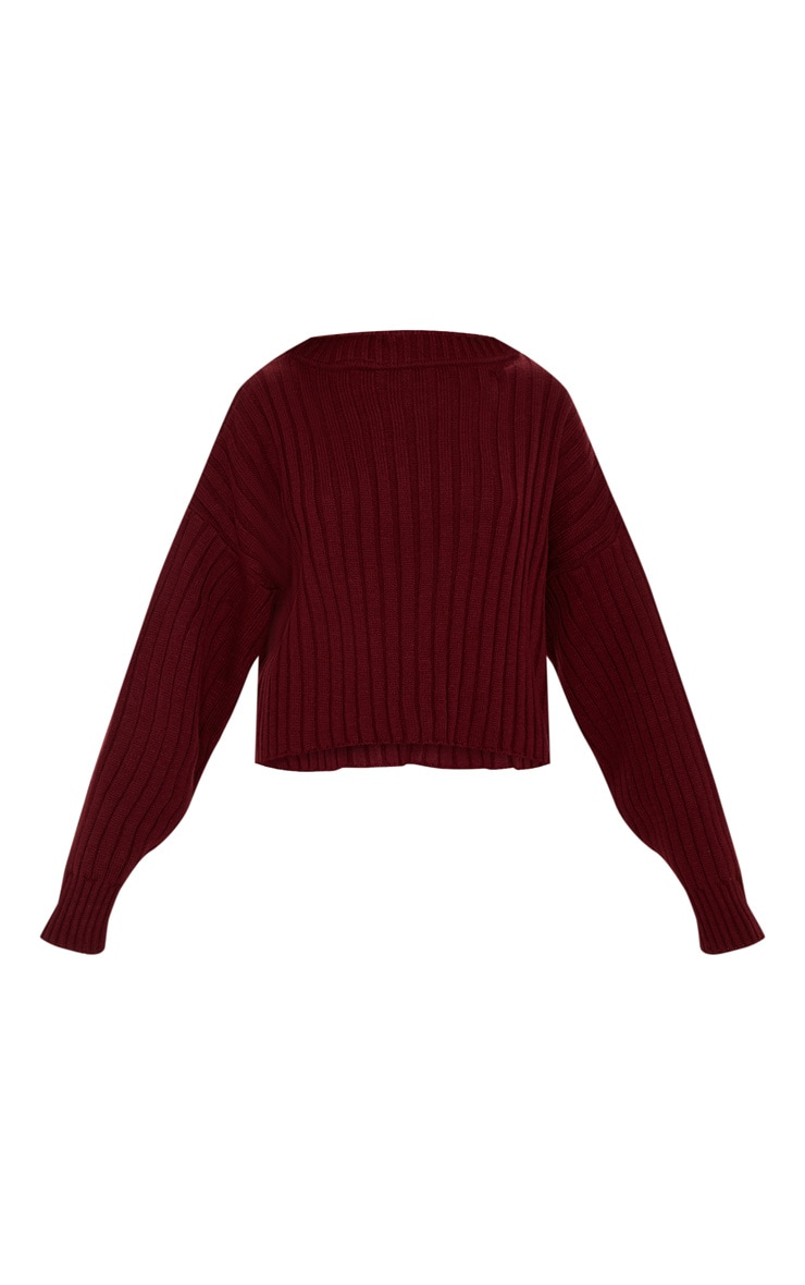 Burgundy Ribbed Knitted Oversized Sweater  3
