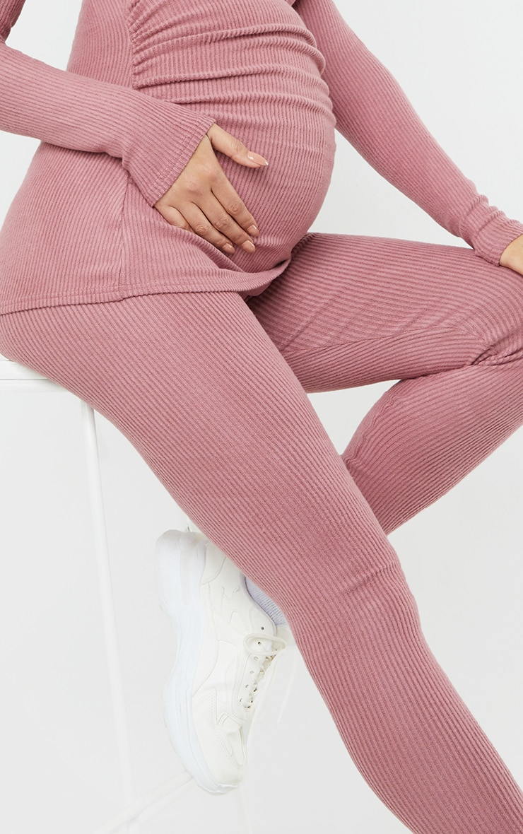Maternity Dusty Rose Ruched Brushed Leggings 4