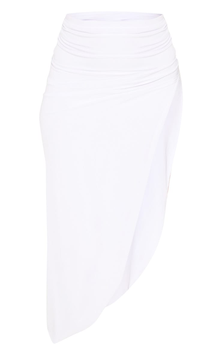 White Ruched Side Split Midaxi Skirt 3