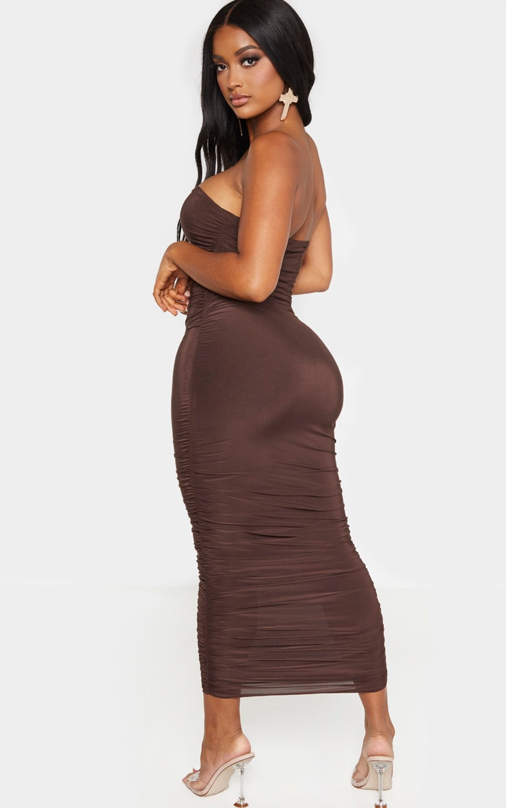Shape - Robe bandeau longue froncée marron chocolat 2