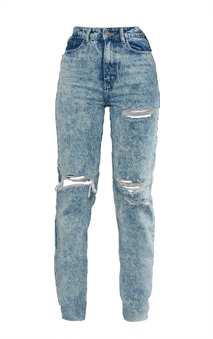 PRETTYLITTLETHING Acid Wash Ripped Long Leg Straight Jeans 5