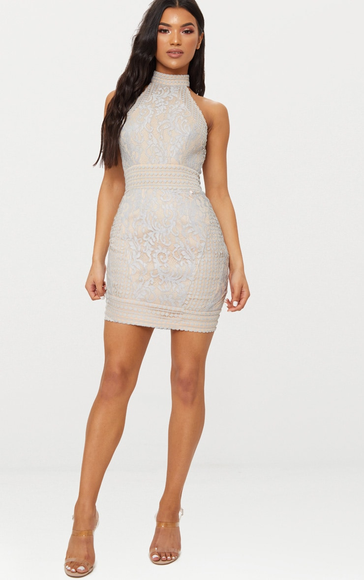 Ice Grey High Neck Lace Crochet Bodycon Dress 3
