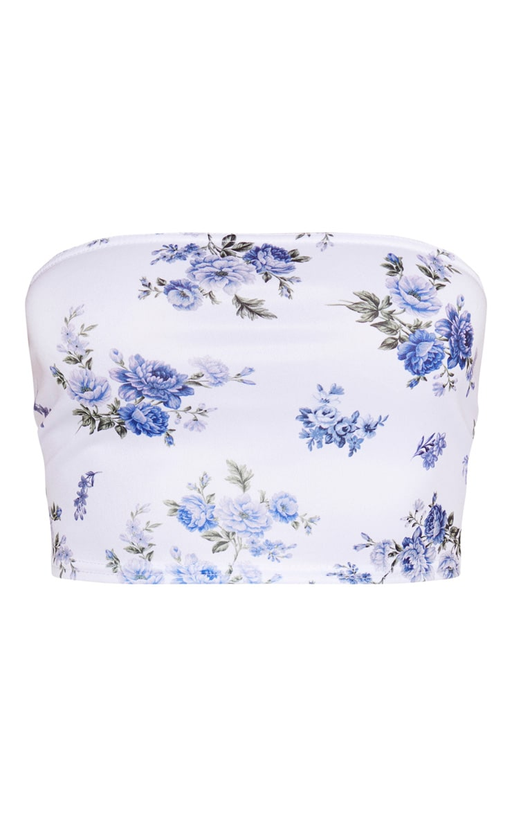 Blue Floral Printed Bandeau 3