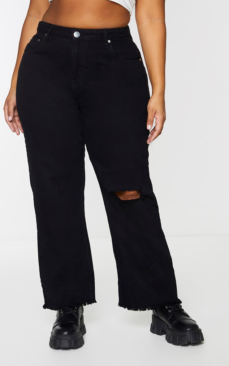 Plus Black Knee Rip Wide Leg Fray Hem Jeans 2