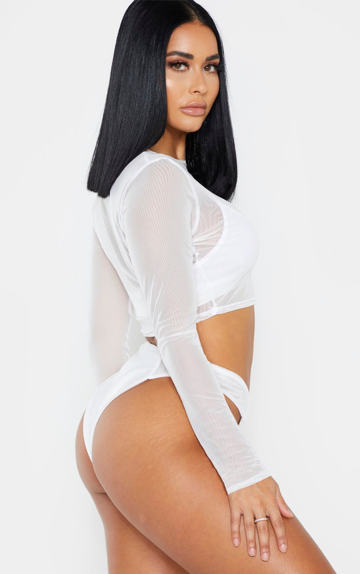 Shape White Mesh High Side Bikini Bottom 2