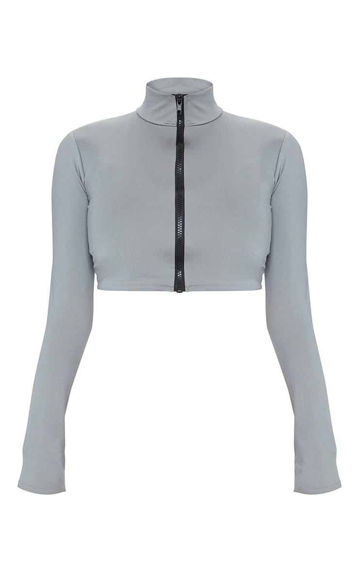 Charcoal Zip Up Long Sleeve Bikini Top 5