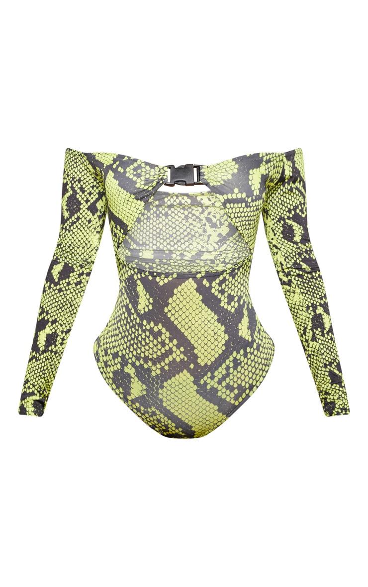 Shape Neon Green Snake Print Bardot Buckle Front Bodysuit 3