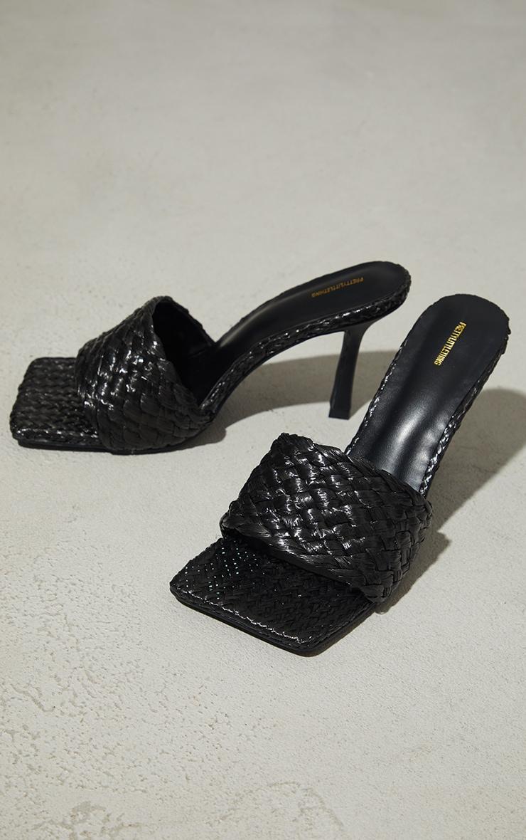 Black Raffia Heeled Mules 1