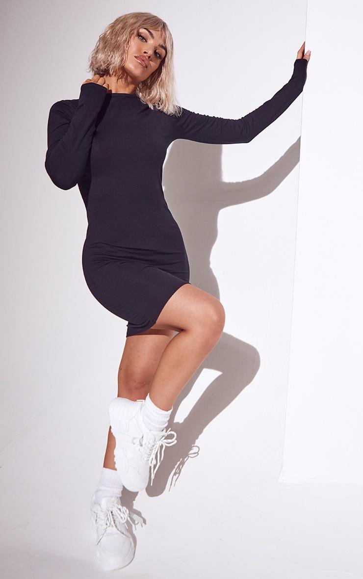 Basic Black Cotton Blend Long Sleeve Thumb Hole Bodycon Dress 3
