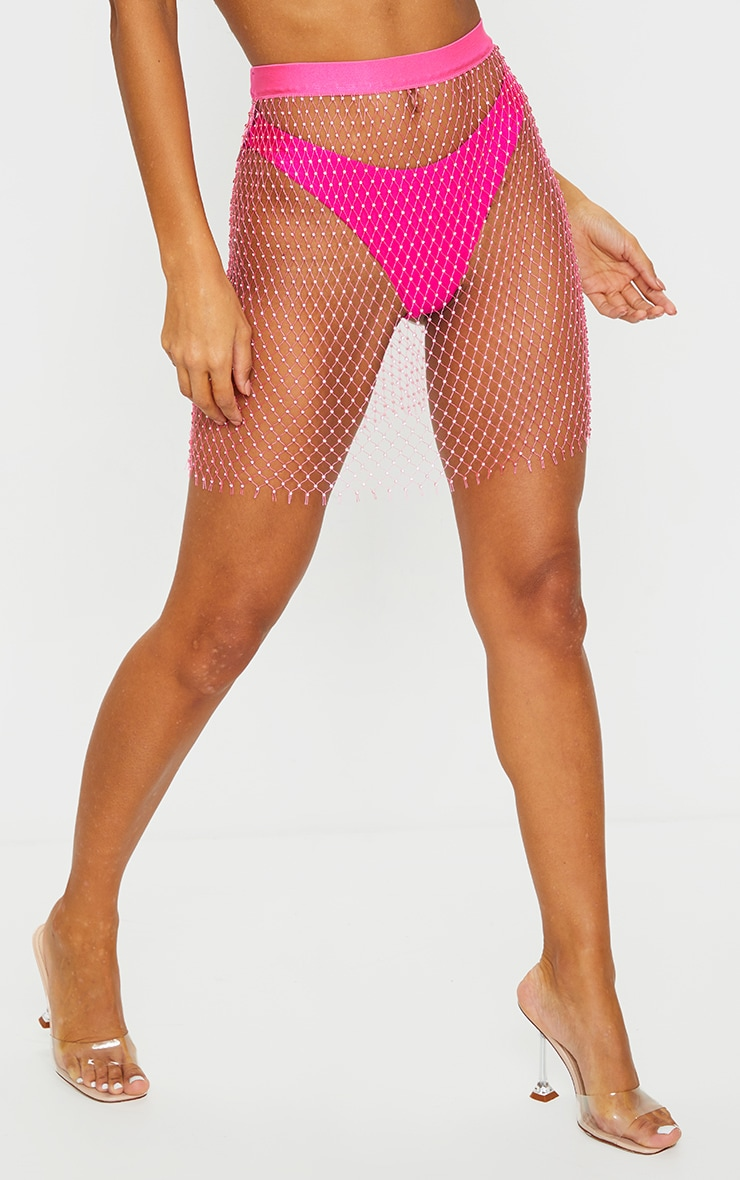 Mini-jupe en mesh rose à strass 2